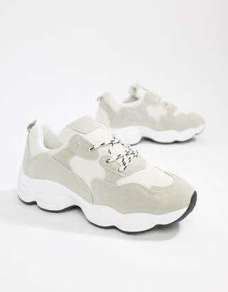Public Desire Wolf white and gray mix chunky sneakers