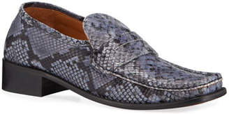 BY FAR Britney Snake-Print Leather Loafers