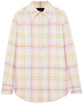 Marc Jacobs Checked Crepe De Chine Shirt - Yellow