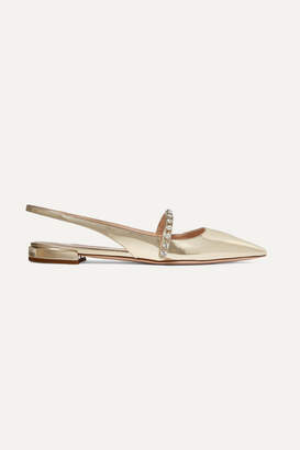 Miu Miu Crystal-embellished Metallic Patent-leather Slingback Flats - Gold