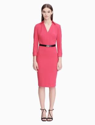 Calvin Klein v-neck 3/4 sleeve belted sheath dress