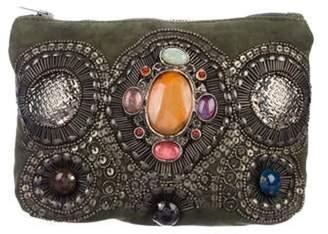 Antik Batik Embellished Suede Clutch Olive Embellished Suede Clutch