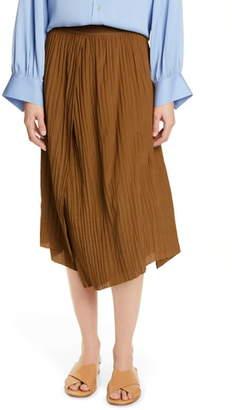 Vince Crinkle Pleated Asymmetrical Skirt