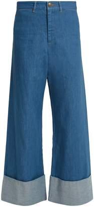 Sea Wide-leg turn-up cuff denim cropped jeans