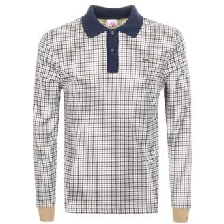 Lacoste Live Long Sleeved Check Polo T Shirt Beige