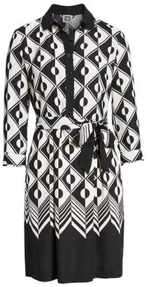Anne Klein Printed Colorblock Shirtdress