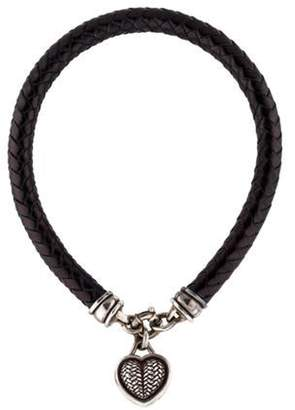 Kieselstein-Cord Braided Leather Heart Necklace Black Braided Leather Heart Necklace