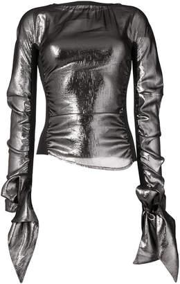 metallic flared sleeve top