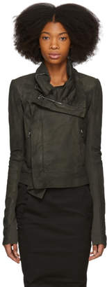 Rick Owens Grey Classic Biker Leather Jacket