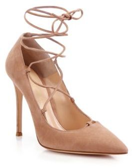 Gianvito Rossi Femi Suede Lace-Up Pumps $895 thestylecure.com