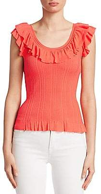 Saks Fifth Avenue Women's COLLECTION Ruffle-Trim Ribbed Tank Top