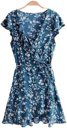 Goodnight Macaroon 'Presley' Floral Print Ruffle Side Tied Wrap Dress