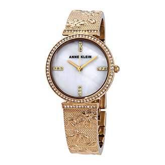 Anne Klein Women's AK/3146MPGB Swarovski Crystal Accented -Tone Textured Bangle Watch