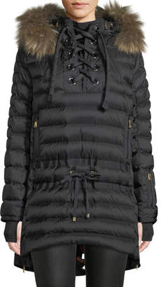 Bogner Sport Debby Down Puffer Coat w/ Removable Fur Trim & Laces
