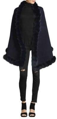 La Fiorentina Fox Fur Pom Oversized Wrap