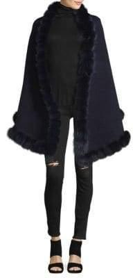 La Fiorentina Fox Fur Pom Oversized Wrap