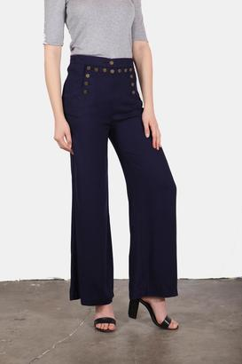 En Creme Navy Girl Sailor Pants $42 thestylecure.com