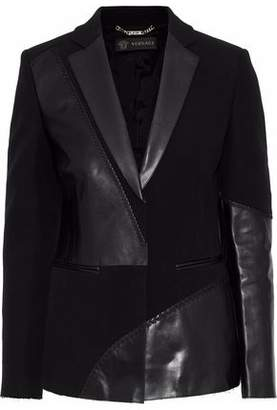 Versace Whipstitched Leather-Paneled Crepe Jacket