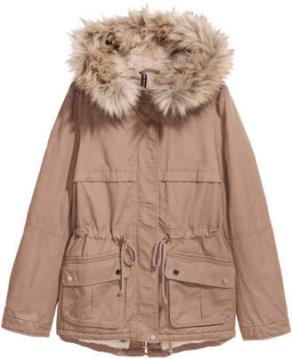 H&M Pile-lined Parka - Brown
