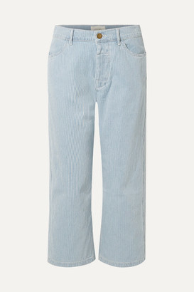 The Great The Railroad Cropped Striped Low-rise Straight-leg Jeans - Blue