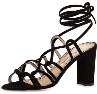 Manolo Blahnik Jena Suede Lace-Up Sandal, Black $795 thestylecure.com