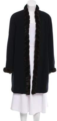 Linda Richards Fur-Trimmed Wool Coat