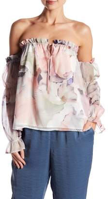 Vince Camuto Off the Shoulder Diffused Floral Peasant Blouse (Regular & Petite)