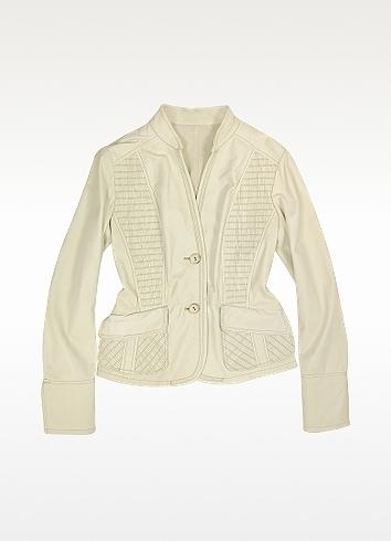 Forzieri Ivory Detailed Insets Italian Leather Jacket