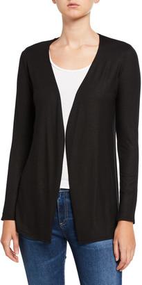 Majestic Metallic Open-Front Long-Sleeve Cardigan