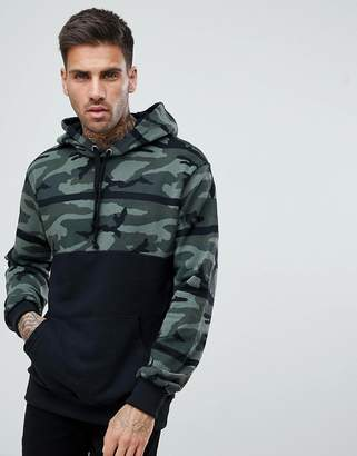 Pull&Bear Hoodie With Camo Color Block In Khaki