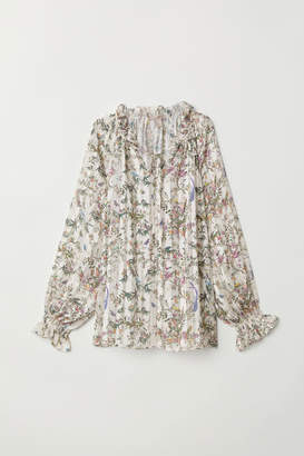 H&M H&M+ Blouse with Smocking - White