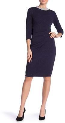 Marina Pearl Embellished 3\u002F4 Sleeve Dress