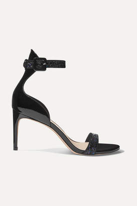 Sophia Webster Nicole Glittered Patent-leather Sandals - Black