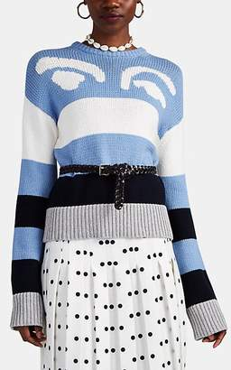 Derek Lam 10 Crosby Women's Graphic Striped Cotton-Blend Sweater - Blue