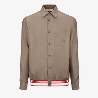 Bally Silk Twill Bomber Shirt Grey, Men's silk twill shirt jacket in snuff