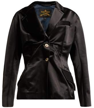 Vivienne Westwood Single Breasted Gathered Satin Blazer - Womens - Black