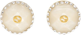Gucci White Button Earrings