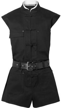 Alexander Wang Belted Cotton-blend Twill Playsuit - Black