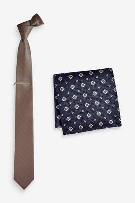 Next Mens Champagne Textured Tie With Geometric Pocket Square And Tie Clip Set - Natural