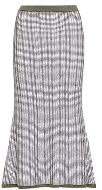 Victoria Beckham Striped wool and cotton skirt