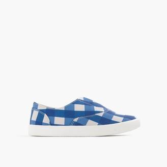 Girls' elastic slide sneakers in gingham $59.50 thestylecure.com