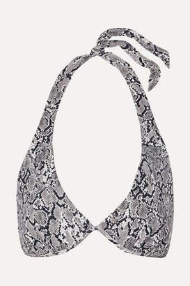 Heidi Klein Mombasa Snake-print Halterneck Bikini Top - Gray