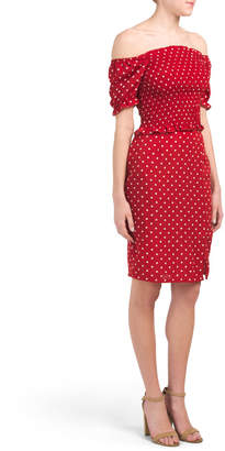 Juniors La Rose Short Sleeve Polka Dot Skirt Set