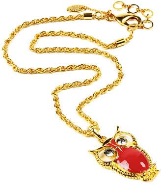 Amrita Singh Crystal & Enamel Owl Pendant Necklace