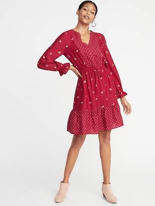 Old Navy Mixed-Print Waist-Defined Shirt Dress for Women