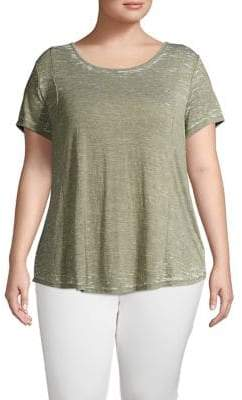 Lord & Taylor Plus Washed Seamed High-Low Tee
