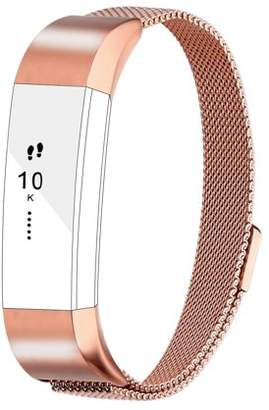 Fitbit iGK For Alta Bands Alta HR Bands, Replacement Accessories Milanese Loop Stainless Steel Metal Bracelet Strap with Magnet Lock for Alta HR Wristband-Rosegold