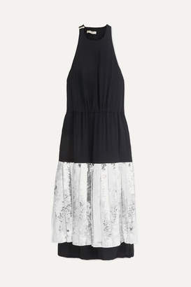Tibi Claude Silk-georgette And Sequined Cotton Dress - Navy