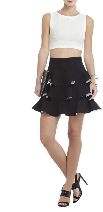BCBGMAXAZRIA Charla Tiered-Ruffle A-Line Skirt