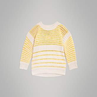Burberry Rib Knit Cotton Sweater , Size: 14Y, Yellow